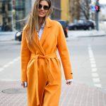 Пальто из натуральной шерсти дабл - фейс цвета спелого апельсина 5