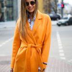 Пальто из натуральной шерсти дабл - фейс цвета спелого апельсина 4