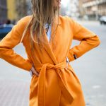 Пальто из натуральной шерсти дабл - фейс цвета спелого апельсина 3