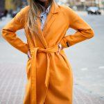 Пальто из натуральной шерсти дабл - фейс цвета спелого апельсина 2