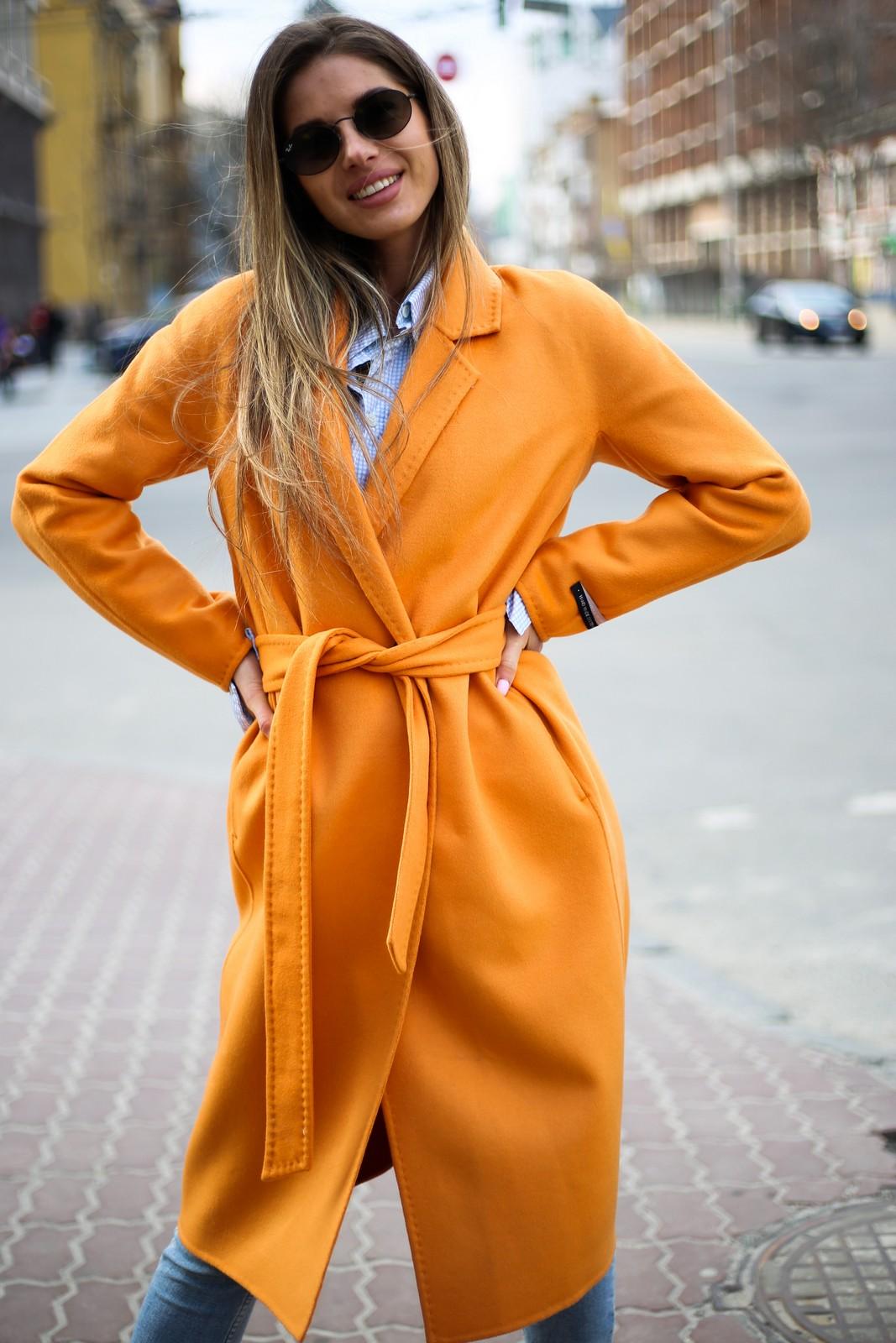Пальто из натуральной шерсти дабл - фейс цвета спелого апельсина 1