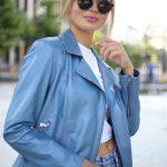 Куртка из натуральной кожи голубого цвета 3