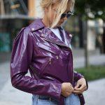 Куртка кожаная фиолетовая 2