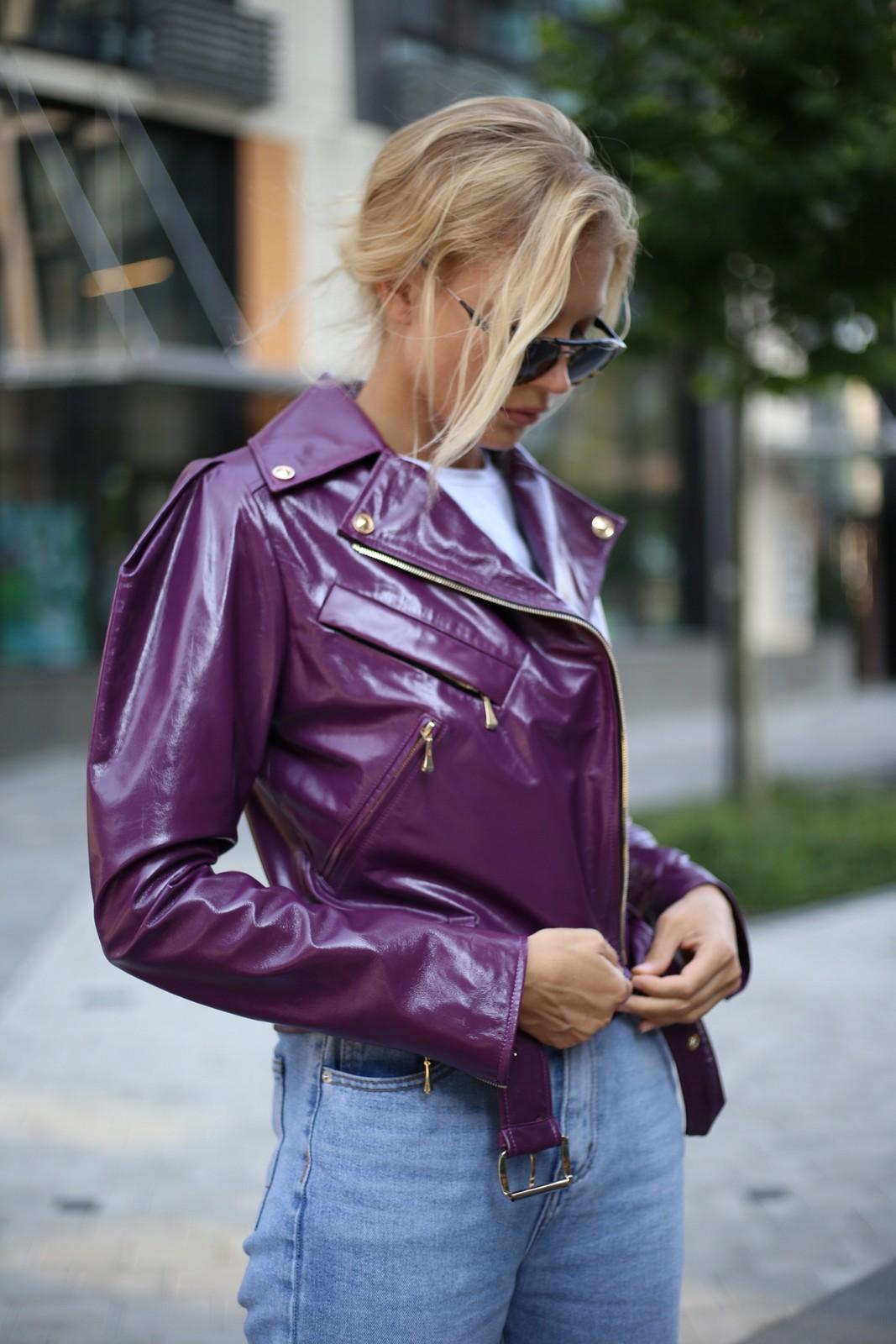 Куртка кожаная фиолетовая 1