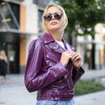 Куртка кожаная фиолетовая 3