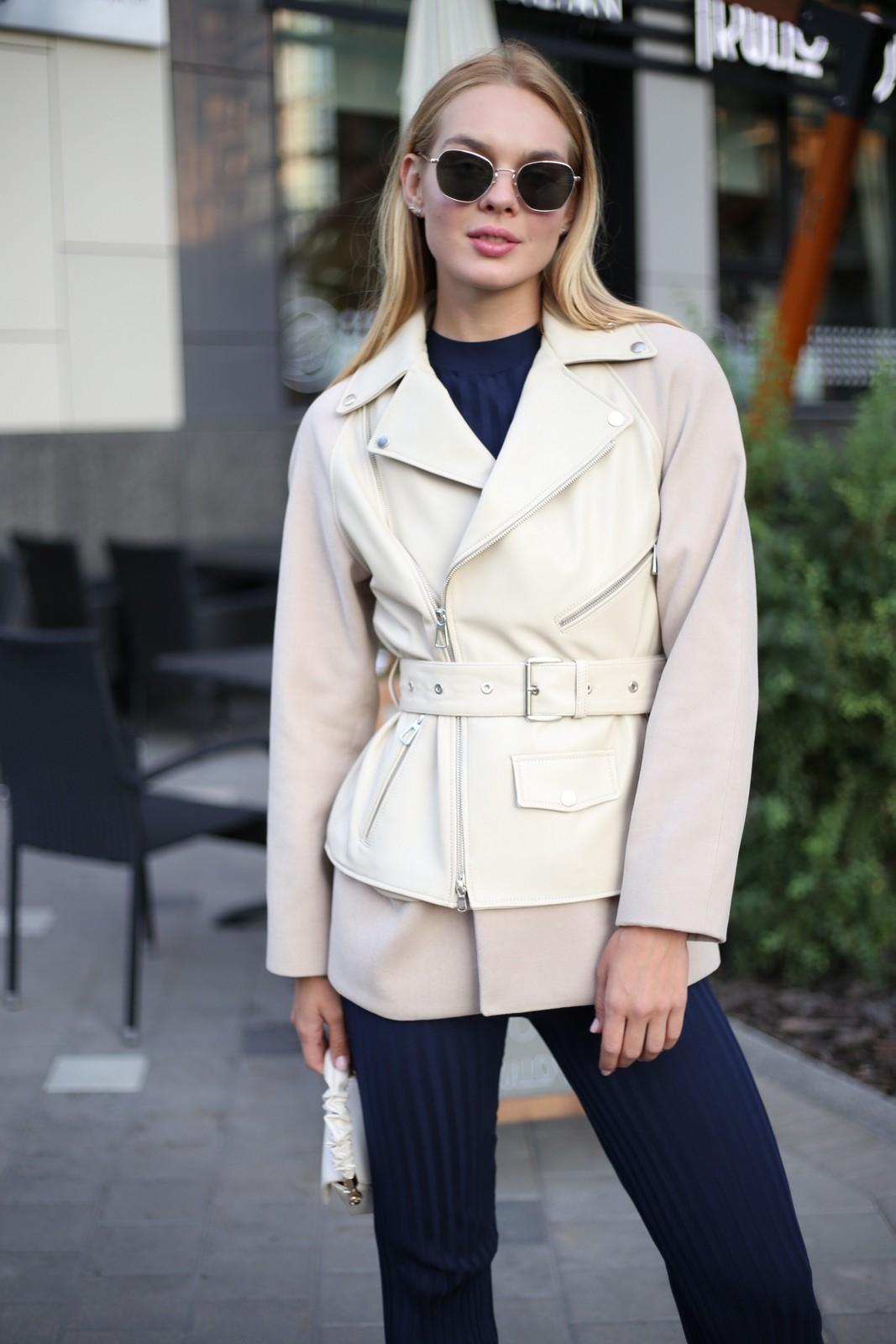 Комбинированная куртка из натуральной кожи и кашемира ванильного цвета . 1