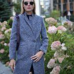 Пальто из меланжевой шерсти мериноса серо - синего цвета. 4