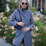 Пальто из меланжевой шерсти мериноса серо - синего цвета. 2