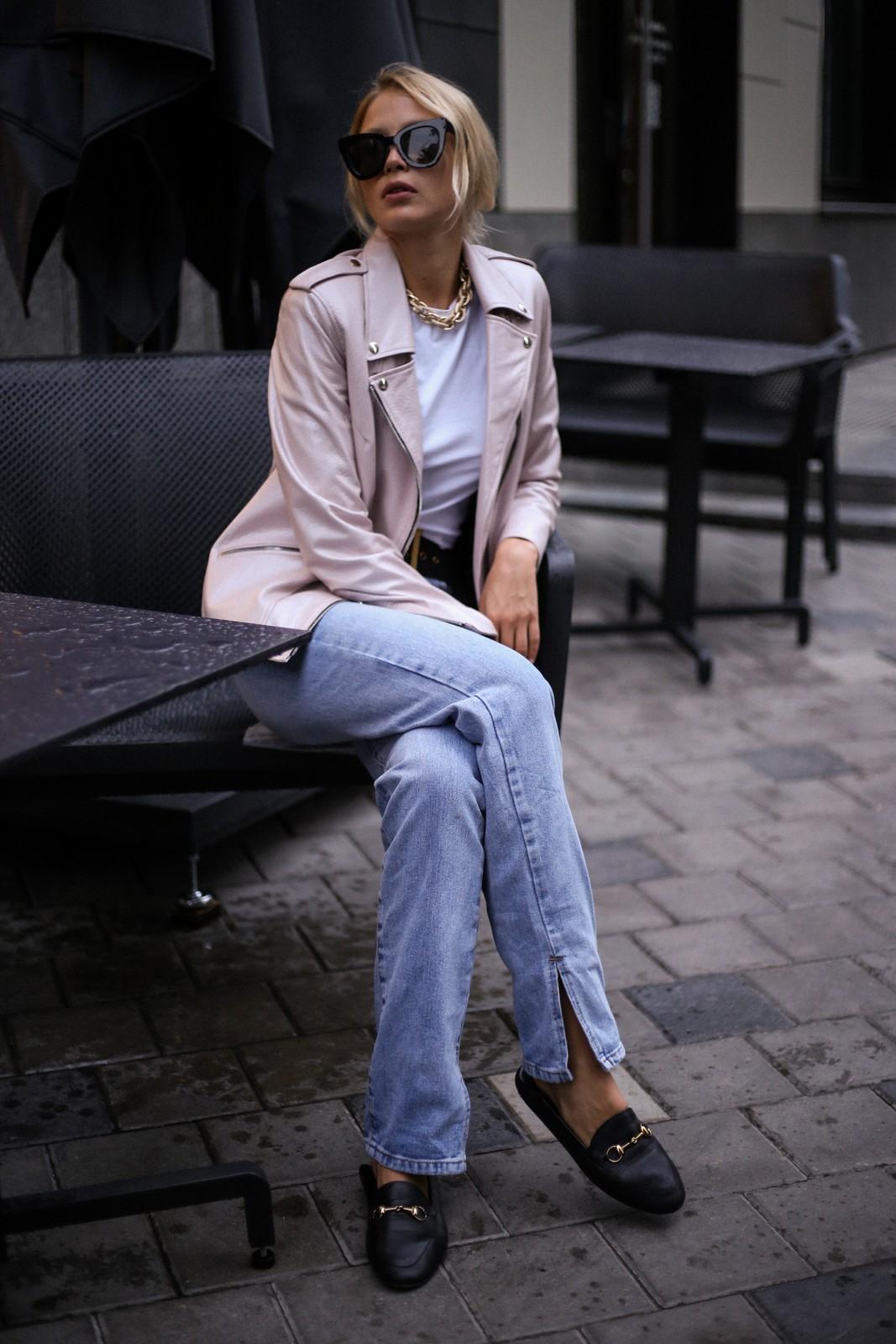 Куртка - косуха из натуральной кожи нежно - розового цвета. 1